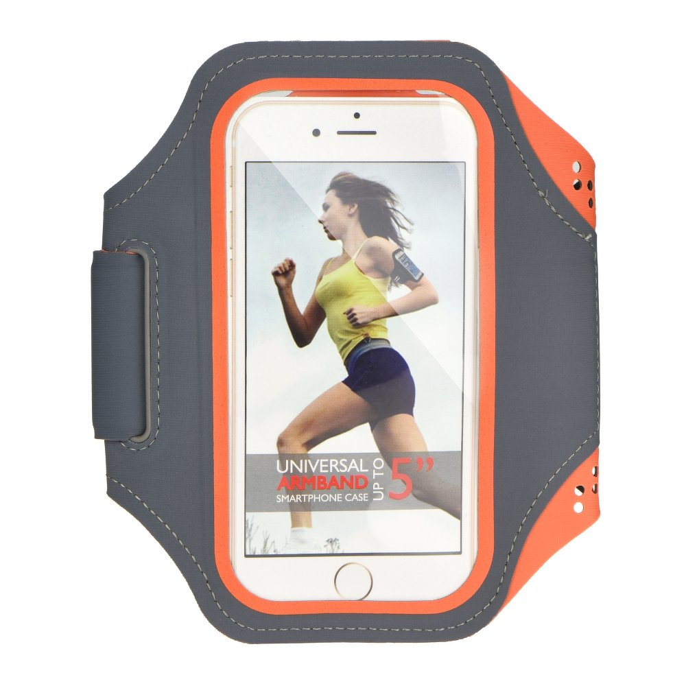 """Sportovní pouzdro na ruku na běhání Armband pro mobily do 5,5"""" Šedo oranžové (Pouzdro na běhání pro mobilní telefony do 5,5 palců)"""