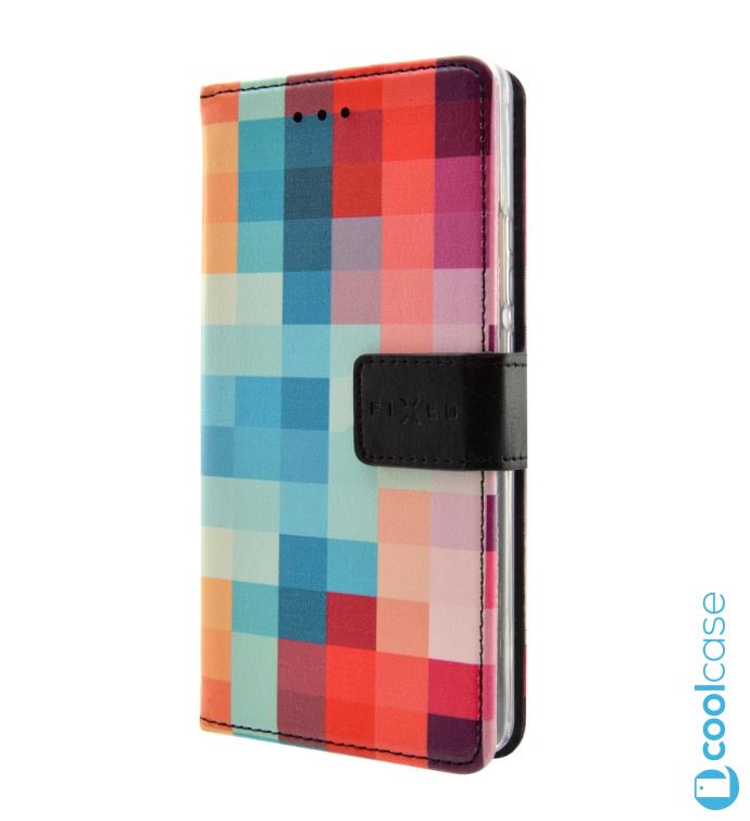 Flipové knížkové pouzdro Fixed Opus na mobil HTC Desire 650 Dice (Flip vyklápěcí kryt či obal Fixed Opus na mobil HTC Desire 650 s motivem čtverečků - Dice)