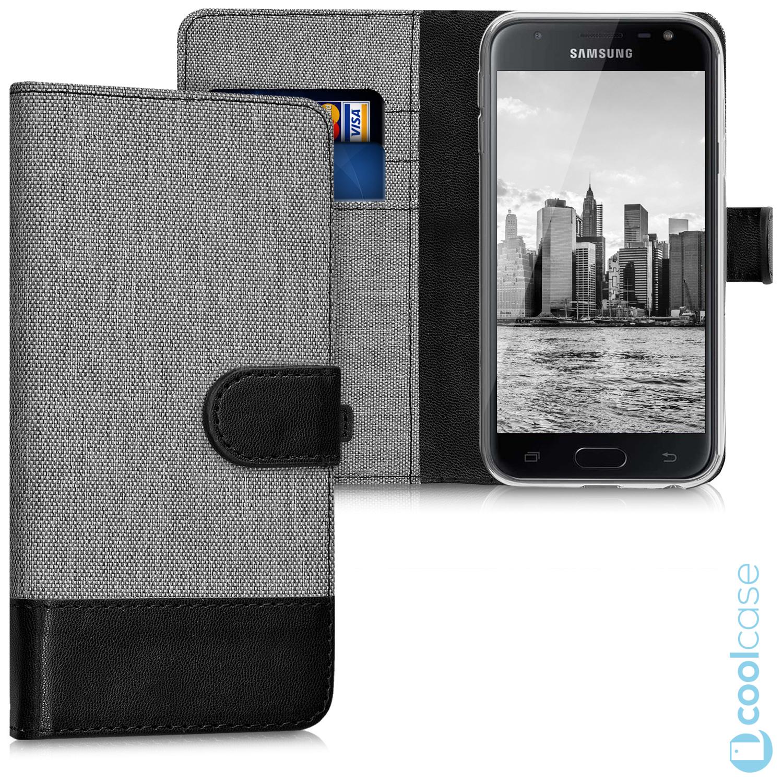 Luxusní flip pouzdro KWmobile Canvas na Samsung Galaxy J5 2017 Šedé - černé 69b9bd24d03