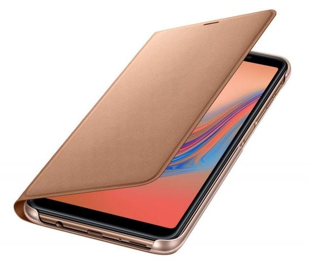 Originální flip pouzdro EF-WA750PFE na mobil Samsung Galaxy A7 (2018) Zlaté - ROZBALENO (EF-WA750PFE Samsung Original Flip Case Gold pro Galaxy A7 2018 (EU Blister))
