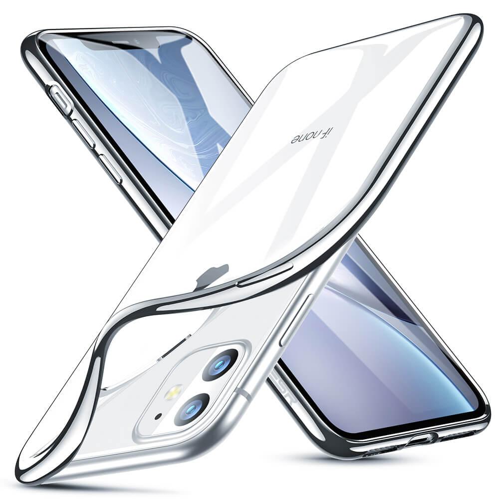 Silikonové pouzdro ESR Essential Crown na mobil Apple iPhone 11 - stříbrný rámeček
