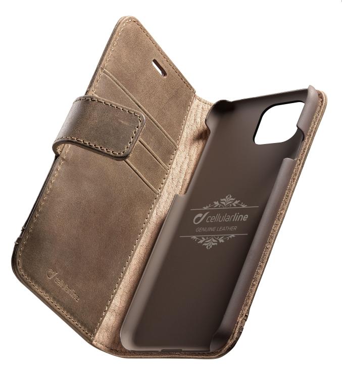Prémiové kožené flip pouzdro Supreme Cellular Line na Apple iPhone 11 Hnědé