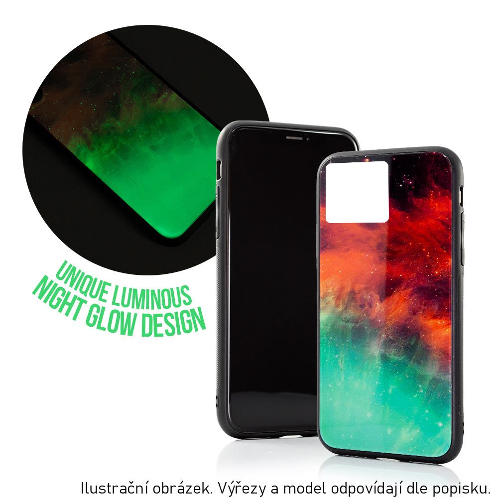 Silikonové pouzdro GLASS CASE na mobil Apple iPhone 11 Mlhovina se skleněnými zády, svítí ve tmě