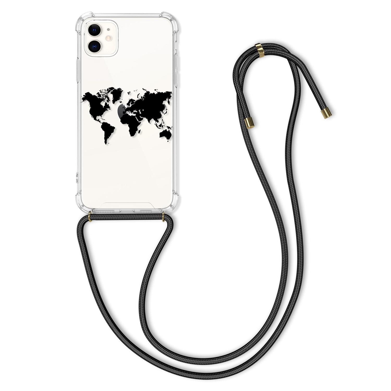 Pevné silikonové pouzdro kwmobile Crossbody na mobil Apple iPhone 11 s popruhem - mapa