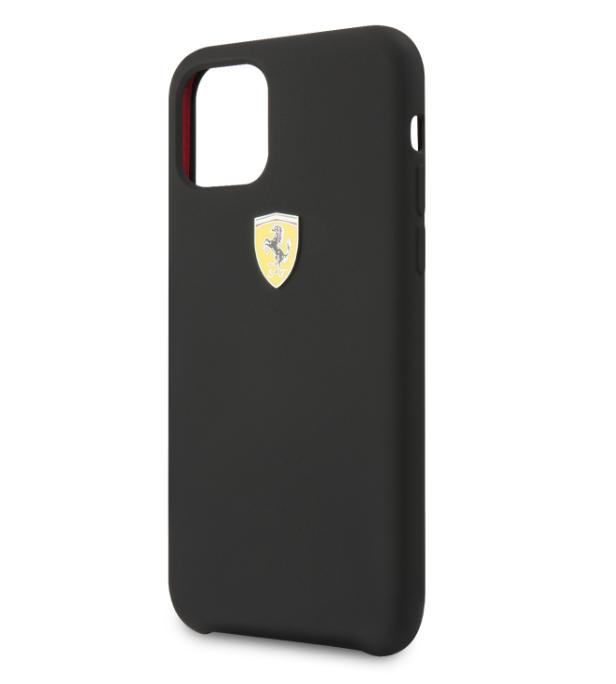 Originální silikonové pouzdro Ferrari SF na mobil Apple iPhone 11 Černé (FESSIHCN61BK)