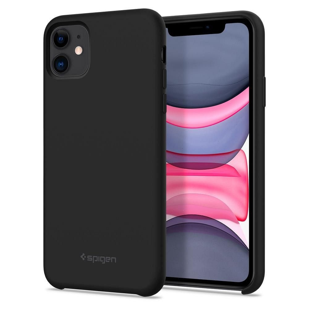Silikonové pouzdro SPIGEN Silicone Fit na mobil Apple iPhone 11 Černé - příjemné na omak