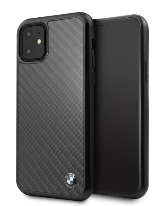 Originální silikonové pouzdro BMW Signature Real Carbon na mobil Apple iPhone 11 Černé (BMHCN61MBC)