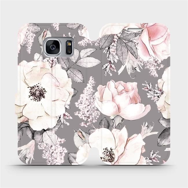 Parádní flip pouzdro Mobiwear na Samsung Galaxy S7 Edge - MX06R - Květy (Flipové knížkové vyklápěcí pouzdro Mobiwear na mobilní telefon Samsung Galaxy S7 Edge s pěkným motivem MX06R - Květy)