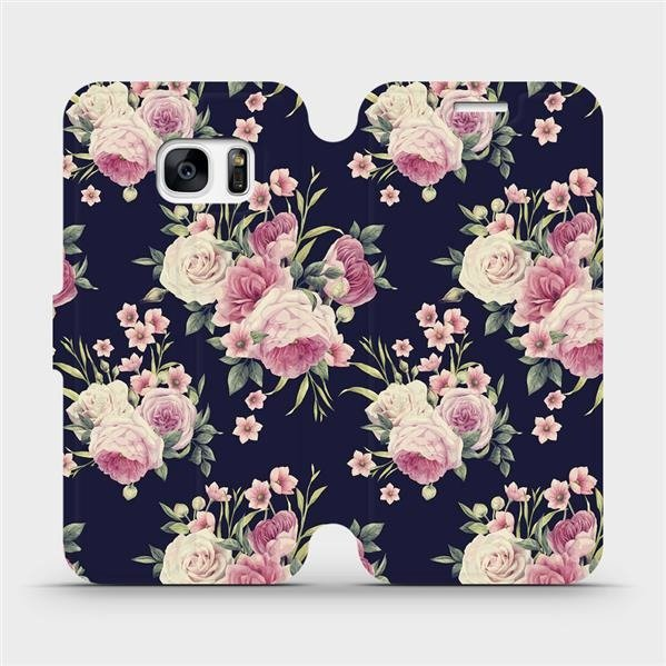 Parádní flip pouzdro Mobiwear na Samsung Galaxy S7 Edge - V068P - Růžičky (Flipové knížkové vyklápěcí pouzdro Mobiwear na mobilní telefon Samsung Galaxy S7 Edge s pěkným motivem V068P - Růžičky)