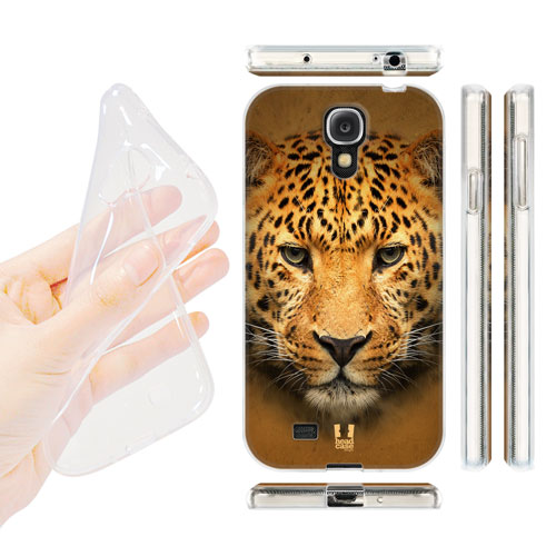 Silikonové pouzdro na mobil Samsung Galaxy S4 HEAD CASE TVÁŘ LEOPARD (Silikonový kryt či obal na mobilní telefon Samsung Galaxy S4 GT-i9505 / i9500)