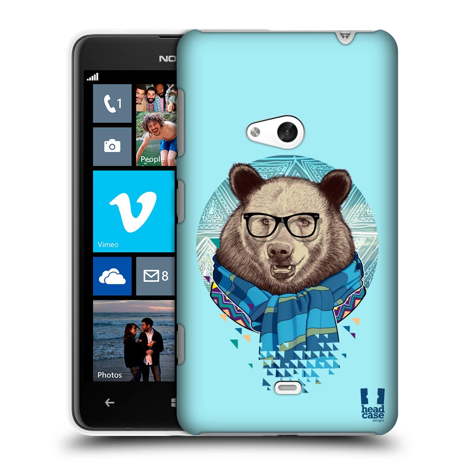 Pouzdro na mobil Nokia Lumia 625 HEAD CASE HIPSTER MEDVĚD (Kryt či obal na mobilní telefon Nokia Lumia 625)