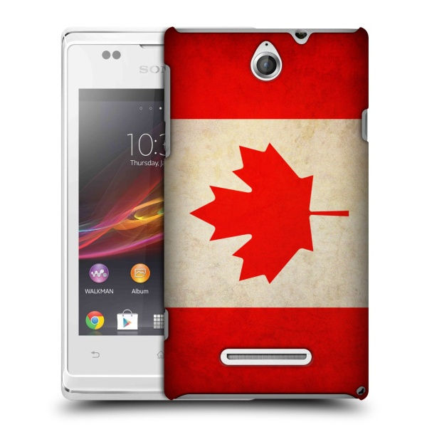 Plastové pouzdro na mobil Sony Xperia E C1505 HEAD CASE VLAJKA KANADA (Kryt či obal na mobilní telefon Sony Xperia E a E Dual)