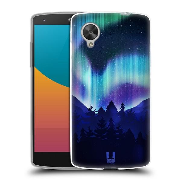 Silikonové pouzdro na mobil LG Nexus 5 HEAD CASE Polární Záře Borovice (Silikonový kryt či obal na mobilní telefon LG Google Nexus 5 D821)