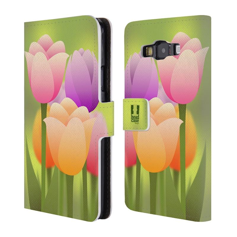 Flipové pouzdro na mobil Samsung Galaxy A3 HEAD CASE Tulipány (Flipový vyklápěcí kryt či obal z umělé kůže na mobilní telefon Samsung Galaxy A3 SM-A300)