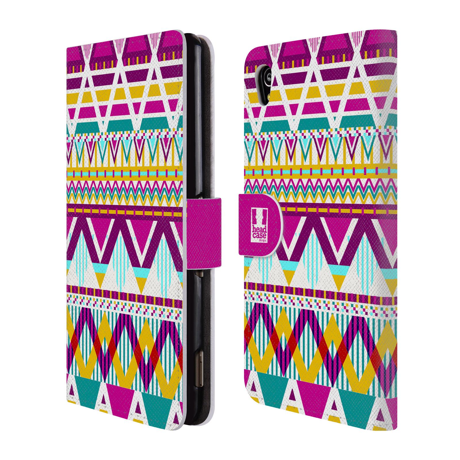 Flipové pouzdro na mobil Sony Xperia M4 Aqua HEAD CASE AZTEC SUGARED (Flipový vyklápěcí kryt či obal z umělé kůže na mobilní telefon Sony Xperia M4 Aqua E2303)