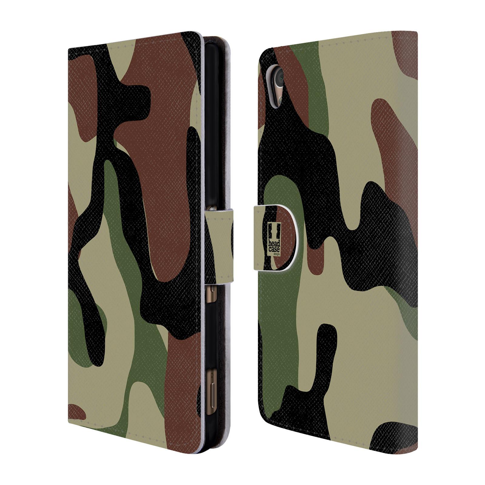 Flipové pouzdro na mobil Sony Xperia Z3+ (Plus) HEAD CASE Maskáče (Flipový vyklápěcí kryt či obal z umělé kůže na mobilní telefon Sony Xperia Z3+ / Z4)