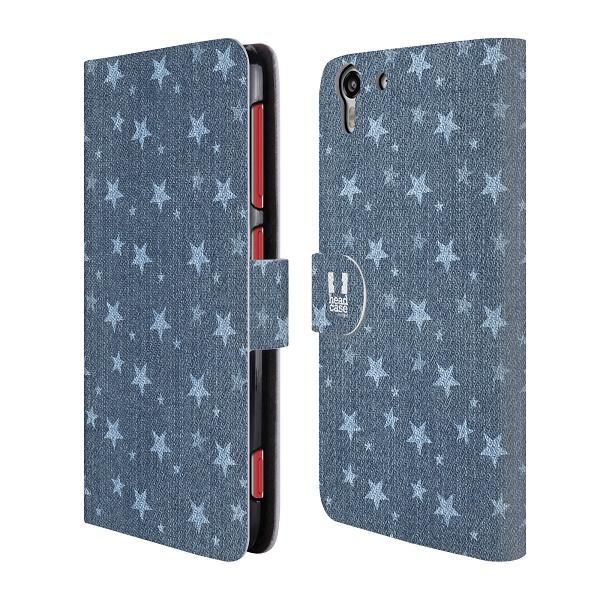 Flipové pouzdro na mobil HTC Desire EYE HEAD CASE Džínové Hvězdičky (Flipový vyklápěcí kryt či obal z umělé kůže na mobilní telefon HTC Desire EYE)