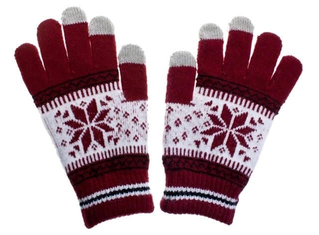 Rukavice na dotykový displej mobilního telefonu a tabletu Nordic Red Dámské (Dámské rukavice v červené barvě na kapacitní displeje)