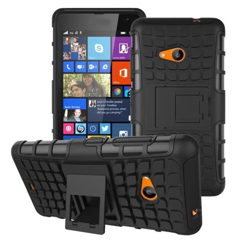 Odolné pouzdro PANZER CASE na mobilní telefon Microsoft Lumia 535 ČERNÉ (Odolný kryt či obal na mobil Microsoft Lumia 535 se stojánkem)