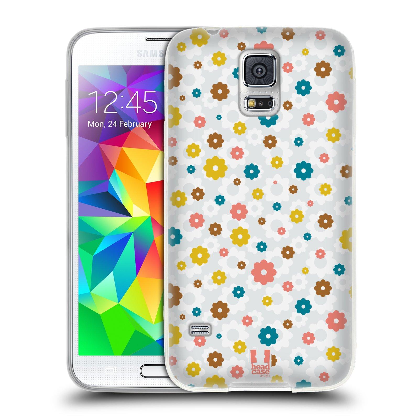 Silikonové pouzdro na mobil Samsung Galaxy S5 HEAD CASE BAREVNÉ KVÍTKY NA BÍLÉ (Silikonový kryt či obal na mobilní telefon Samsung Galaxy S5 SM-G900F)