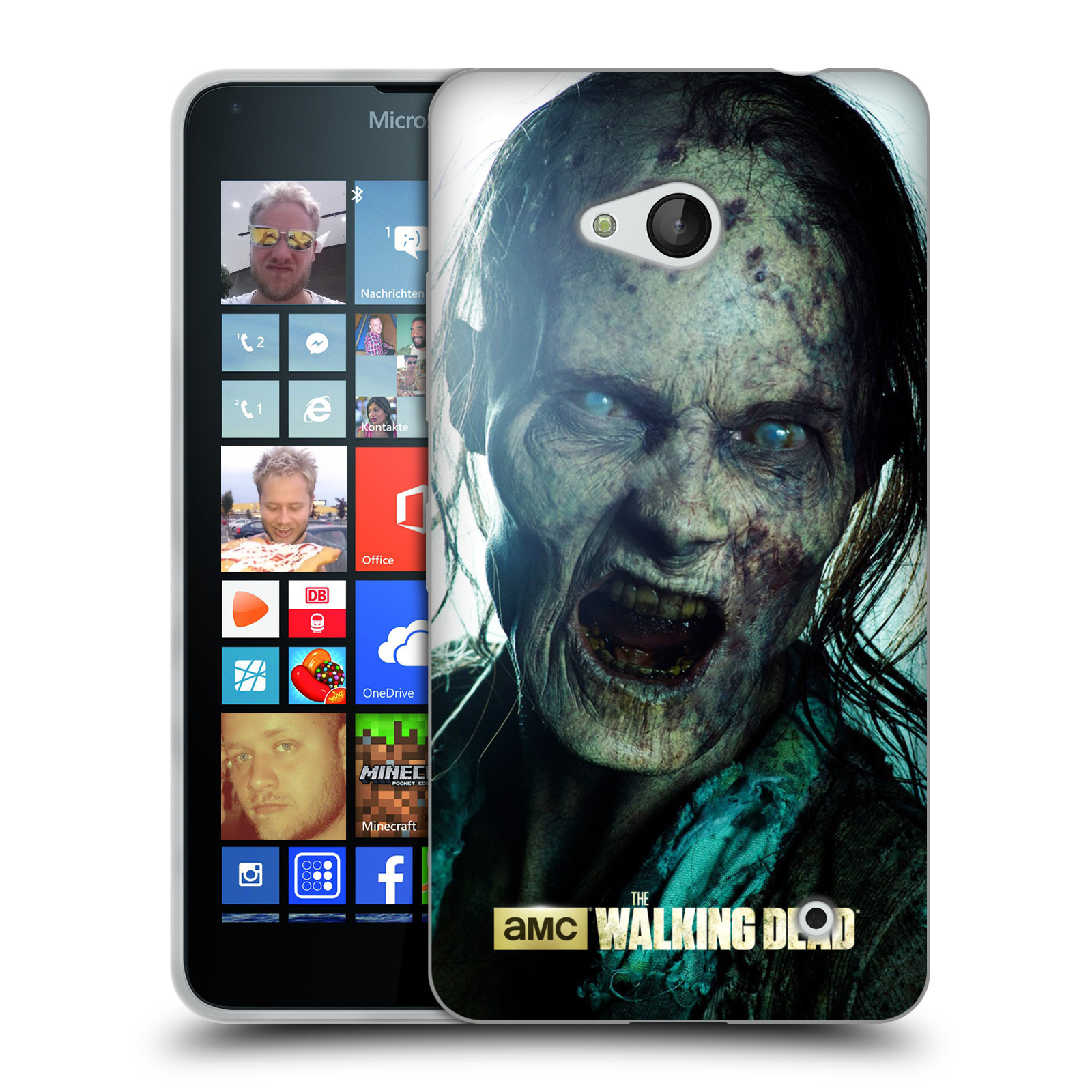 Silikonové pouzdro na mobil Microsoft Lumia 640 HEAD CASE The Walking Dead - Walker Bite