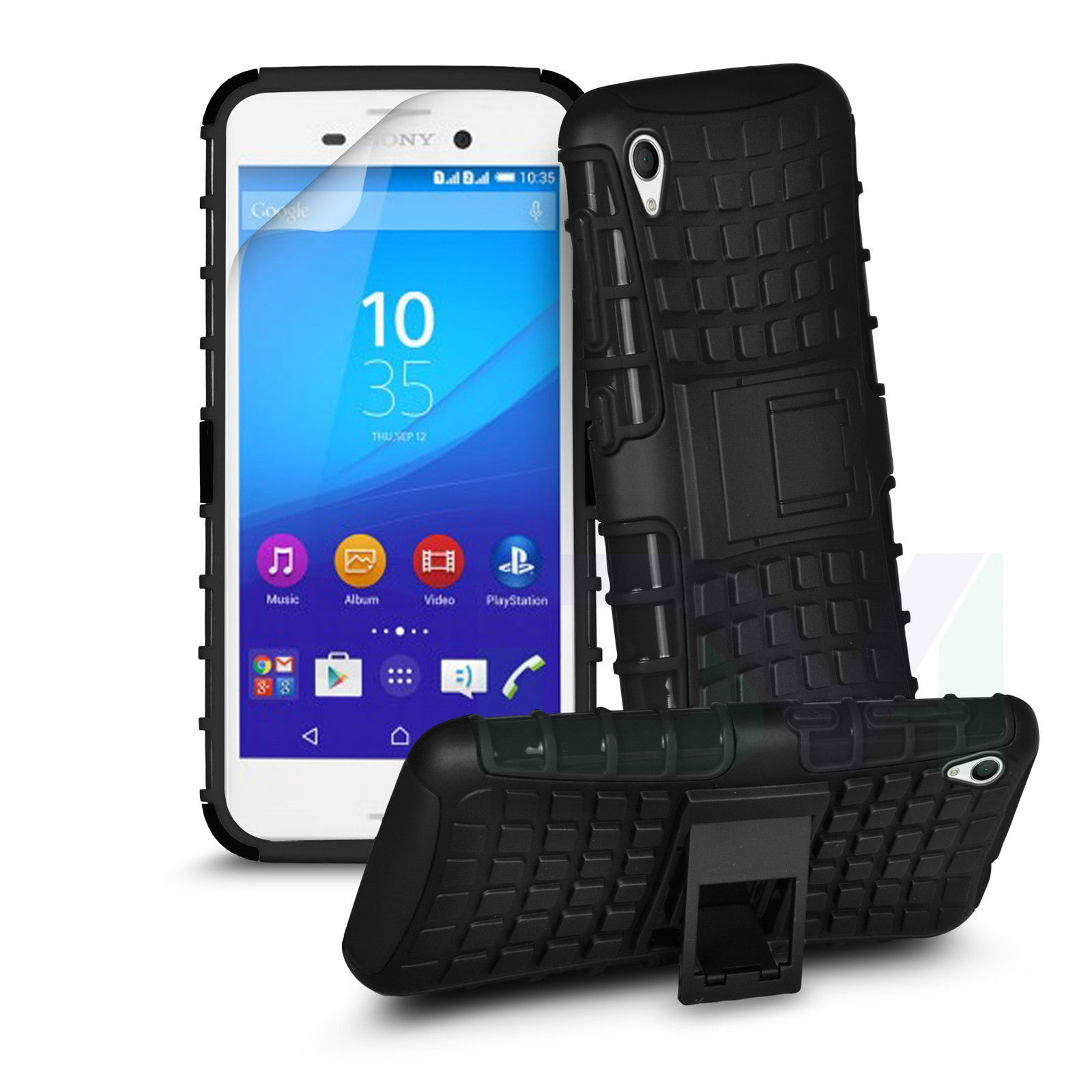 Odolné pouzdro PANZER CASE na mobilní telefon Sony Xperia M4 Aqua Černé (Odolný kryt či obal na mobil Sony Xperia M4 Aqua se stojánkem)