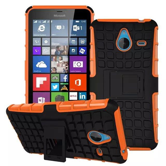 Odolné pouzdro PANZER CASE na mobilní telefon Microsoft Lumia 640 XL Oranžové (Odolný kryt či obal na mobil Microsoft Lumia 640 XL se stojánkem)