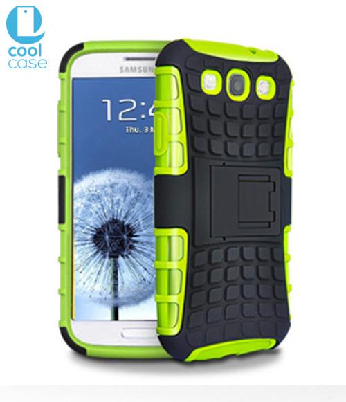 Odolné pouzdro PANZER CASE na mobilní telefon Samsung Galaxy S3 Neo Zelené (Odolný kryt či obal na mobil Samsung Galaxy S III se stojánkem)