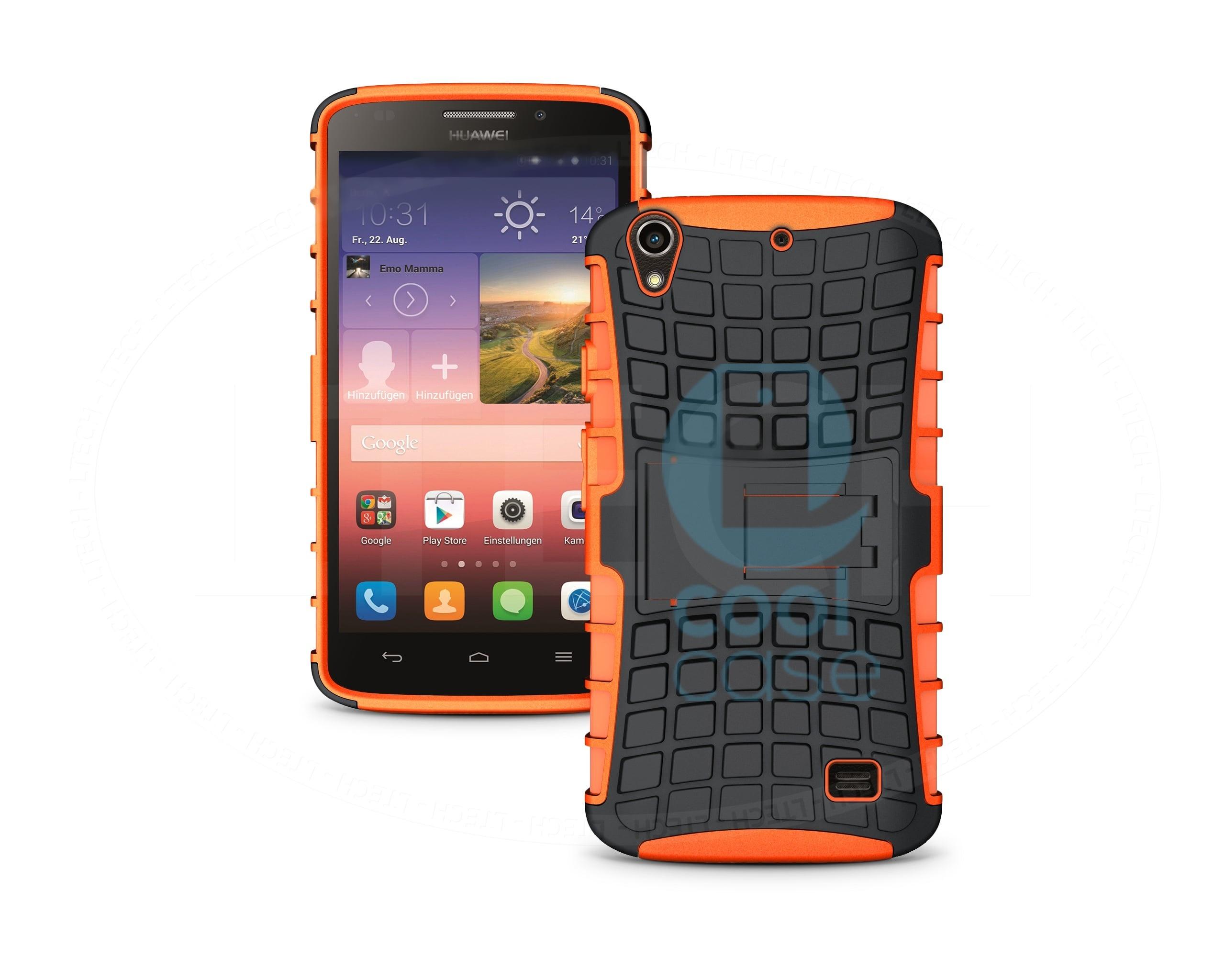 Odolné pouzdro PANZER CASE na mobilní telefon Huawei Ascend G620s Oranžové (Odolný kryt či obal na mobil Huawei Ascend G620s Lite se stojánkem)