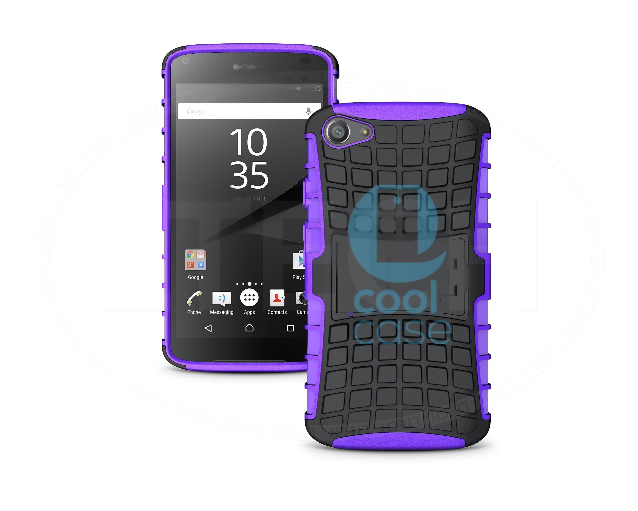 Odolné pouzdro PANZER CASE na mobilní telefon Sony Xperia Z5 Compact Fialové (Odolný kryt či obal na mobil Sony Xperia Z5 Compact se stojánkem)