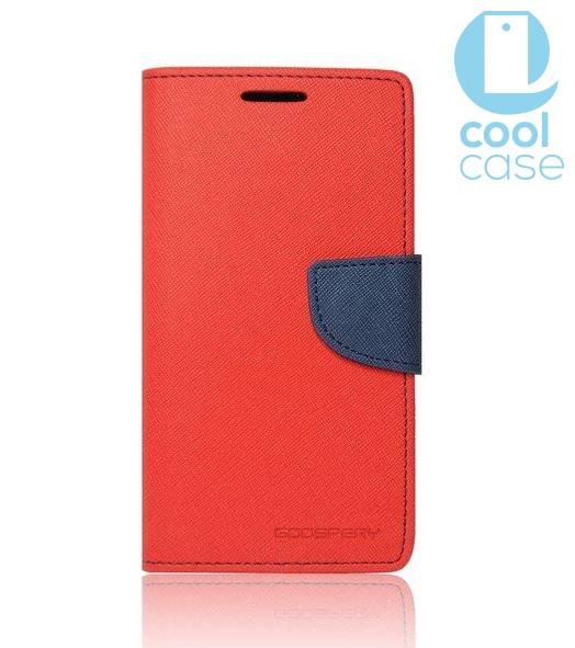 Flipové pouzdro na mobil FANCY BOOK LENOVO A536 Červené (Flipové knížkové vyklápěcí pouzdro na mobilní telefon Lenovo A536)