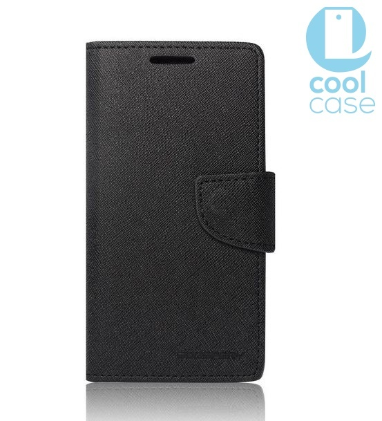 POUZDRO FANCY BOOK LENOVO A5000 ČERNÉ (Flipové knížkové vyklápěcí pouzdro na mobilní telefon Lenovo A5000)