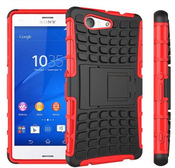 Odolné pouzdro PANZER CASE na mobilní telefon Sony Xperia Z3 Compact Červené (Odolný kryt či obal na mobil Sony Xperia Z3 Compact se stojánkem)