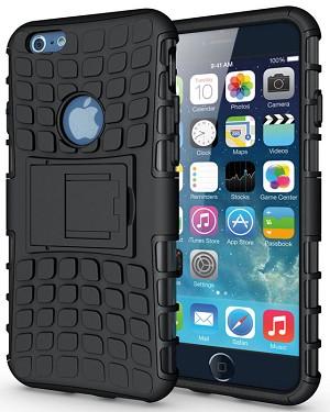 Odolné pouzdro PANZER CASE na mobilní telefon Apple iPhone 6 / 6S černé (Odolný kryt či obal na mobil Apple iPhone 6 / 6S se stojánkem)