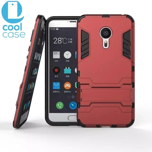 Odolné pouzdro ARMOR SHELL na mobilní telefon Meizu MX5 Červené (Odolný kryt či obal na mobil Meizu MX5 se stojánkem)