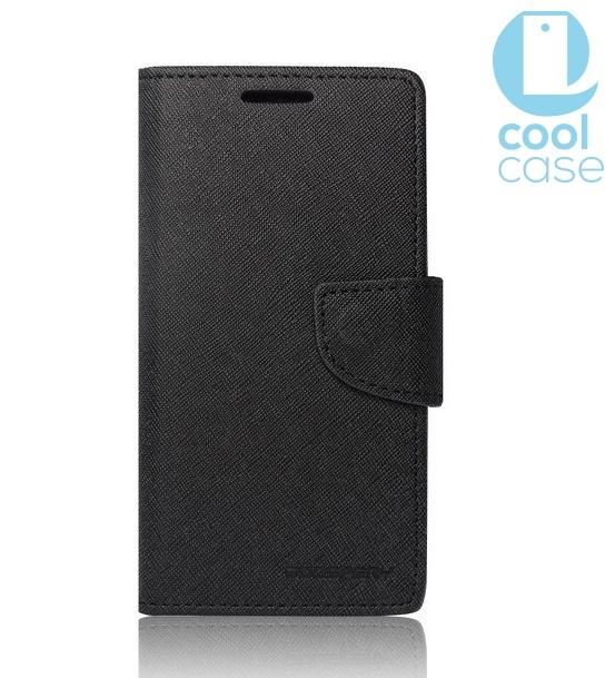 Flipové pouzdro na mobil FANCY BOOK Huawei Ascend P8 Lite ČERNÉ (Flip vyklápěcí kryt či obal na mobil Huawei Ascend P8 Lite)