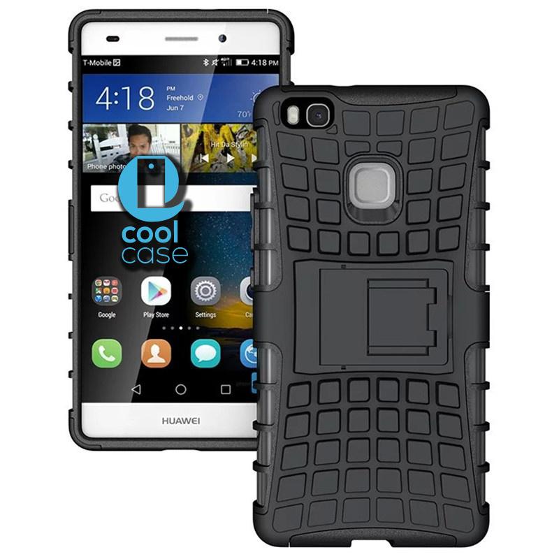 Odolné pouzdro na mobil PANZER CASE na mobilní telefon Huawei P9 Lite Černé (Odolný kryt či obal na mobil Huawei P9 Lite se stojánkem)