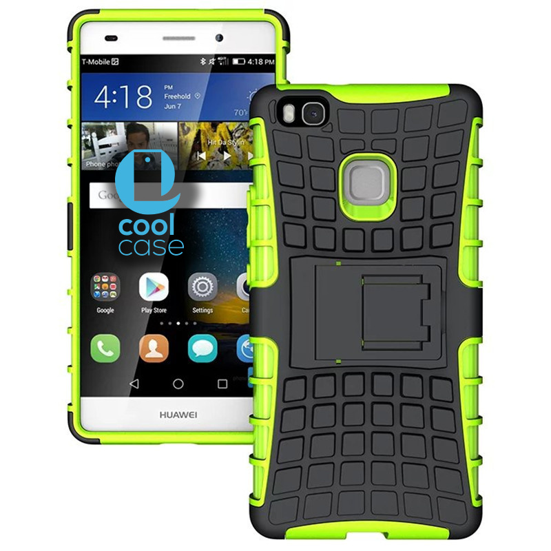 Odolné pouzdro na mobil PANZER CASE na mobilní telefon Huawei P9 Lite Zelené (Odolný kryt či obal na mobil Huawei P9 Lite se stojánkem)