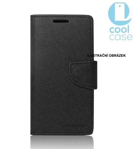 Flipové pouzdro na mobil FANCY BOOK HTC ONE M10 ČERNÉ (Flipové knížkové vyklápěcí pouzdro na mobilní telefon HTC ONE M10)