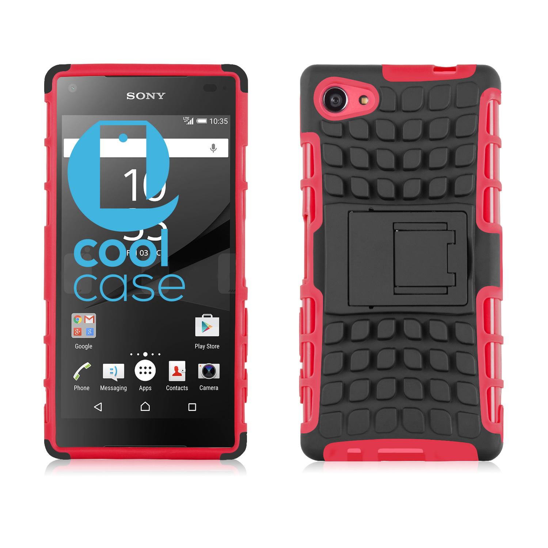 Odolné pouzdro PANZER CASE na mobil Sony Xperia Z5 Compact Červené + fólie (Odolný kryt či obal na mobil Sony Xperia Z5 Compact se stojánkem)