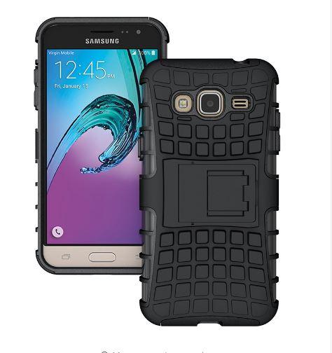 Odolné pouzdro PANZER CASE na mobil Samsung Galaxy J3 (2016) Černé (Odolný kryt či obal na mobil Samsung Galaxy J3 (2016) se stojánkem)