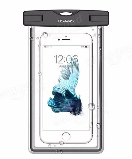 """Vodotěsné pouzdro USAMS Luminous IPX8 pro mobilní telefony do 5,5"""" Black (Vodotěsné pouzdro pro mobilní telefony s úhlopříčkou do 5,5 palců)"""