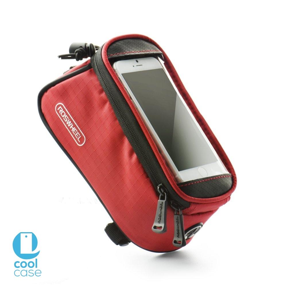 Držák na kolo ROSWHEEL pro mobilní telefony s displejem do 4,8 palců, červený (Držák na jízdní kolo pro mobilní telefony pro vášnivé cyklisty)
