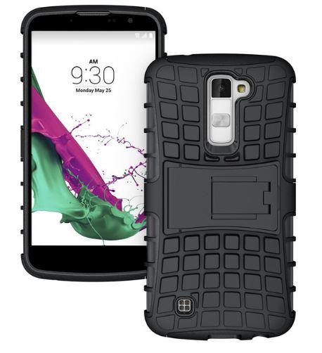 Odolné pouzdro PANZER CASE na mobilní telefon LG K10 Černé (Odolný kryt či obal na mobil LG K10 se stojánkem)