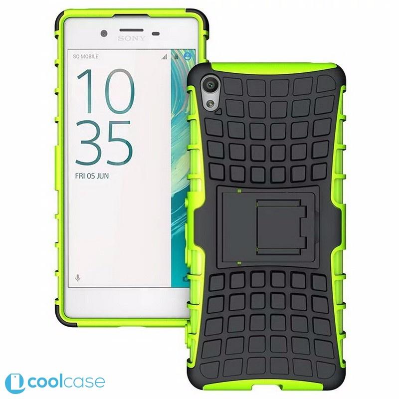 Odolné pouzdro PANZER CASE na mobilní telefon Sony Xperia X Zelené (Odolný kryt či obal na mobil Sony Xperia X se stojánkem)