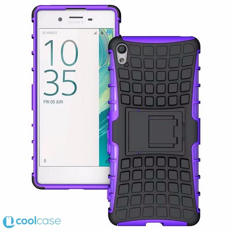 Odolné pouzdro PANZER CASE na mobilní telefon Sony Xperia XA Fialové (Odolný kryt či obal na mobil Sony Xperia XA se stojánkem)