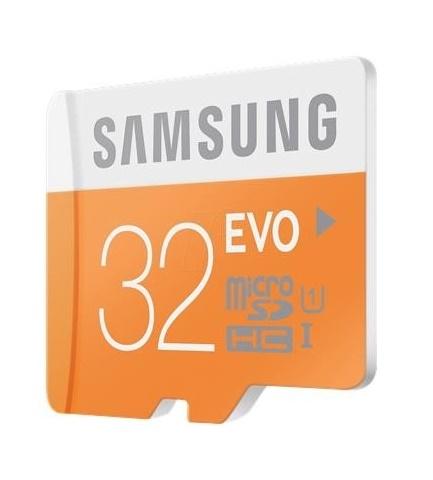 Paměťová karta micro SDHC 32GB EVO Samsung Class 10 + SD adaptér (Paměťová karta micro SDHC od firmy Samsung s kapacitou 32GB)