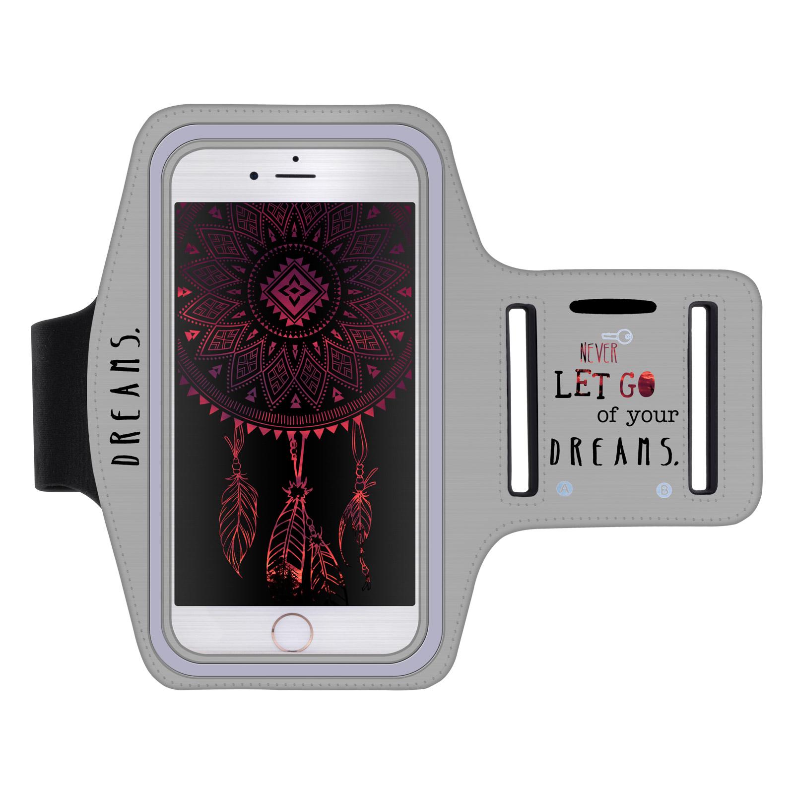 """Sportovní pouzdro NEVER DREAMS pro mobily do 5,5"""" iPhone 6 Plus/ S7 Edge šedé (Pouzdro na běhání pro mobilní telefony do 5,5 palců)"""
