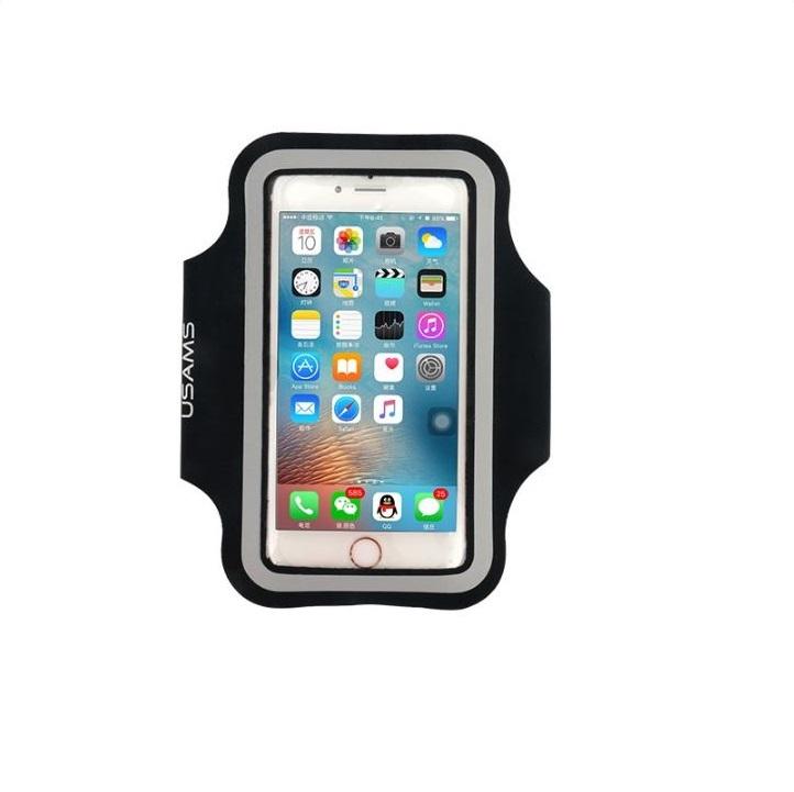 """Sportovní pouzdro na ruku USAMS pro mobily do 5,5"""" iPhone 6 Plus/ S7 EDGE Černé (Pouzdro na běhání pro mobilní telefony do 5,5 palců)"""