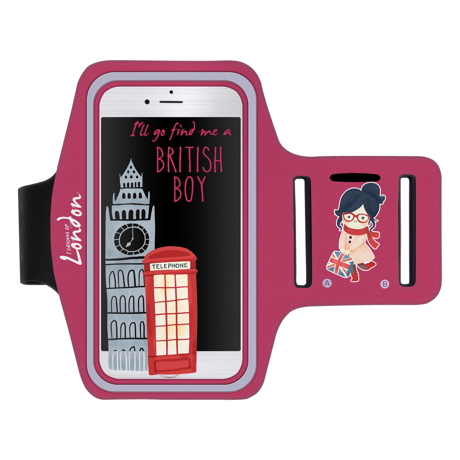 """Sportovní pouzdro na ruku BRITISH BOY pro mobily do 5,5"""" S7 Edge růžové (Pouzdro na běhání pro mobilní telefony do 5,5 palců)"""